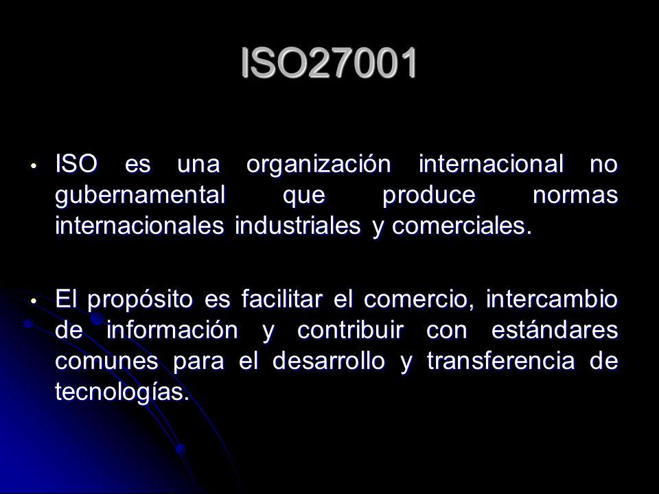 ISO27001 ISO es una organización internacional no gubernamental que produce normas internacionales industriales y comerciales.