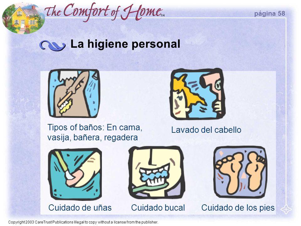 La higiene personal Tipos of baños: En cama, vasija, bañera, regadera
