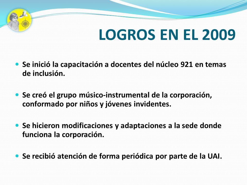LOGROS EN EL 2009 Se inició la capacitación a docentes del núcleo 921 en temas de inclusión.
