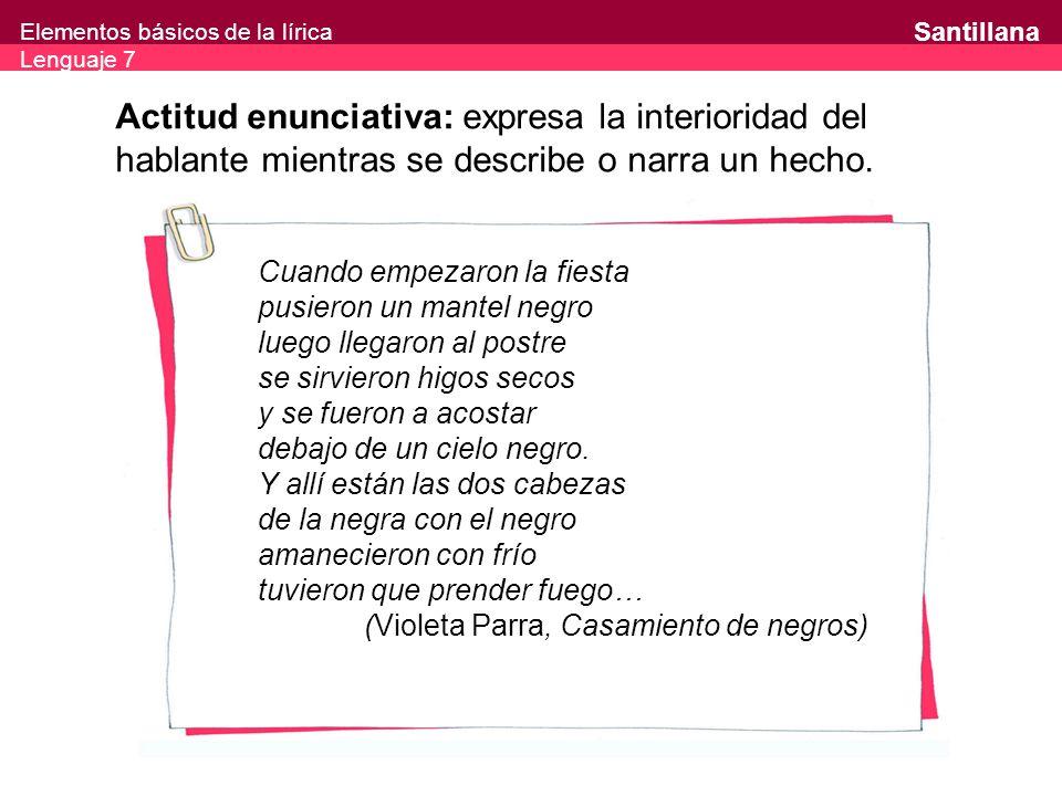 Actitud enunciativa: expresa la interioridad del hablante mientras se describe o narra un hecho.