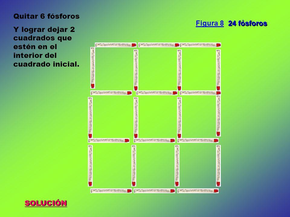 Quitar 6 fósforos Y lograr dejar 2 cuadrados que estén en el interior del cuadrado inicial. Figura 8 24 fósforos.