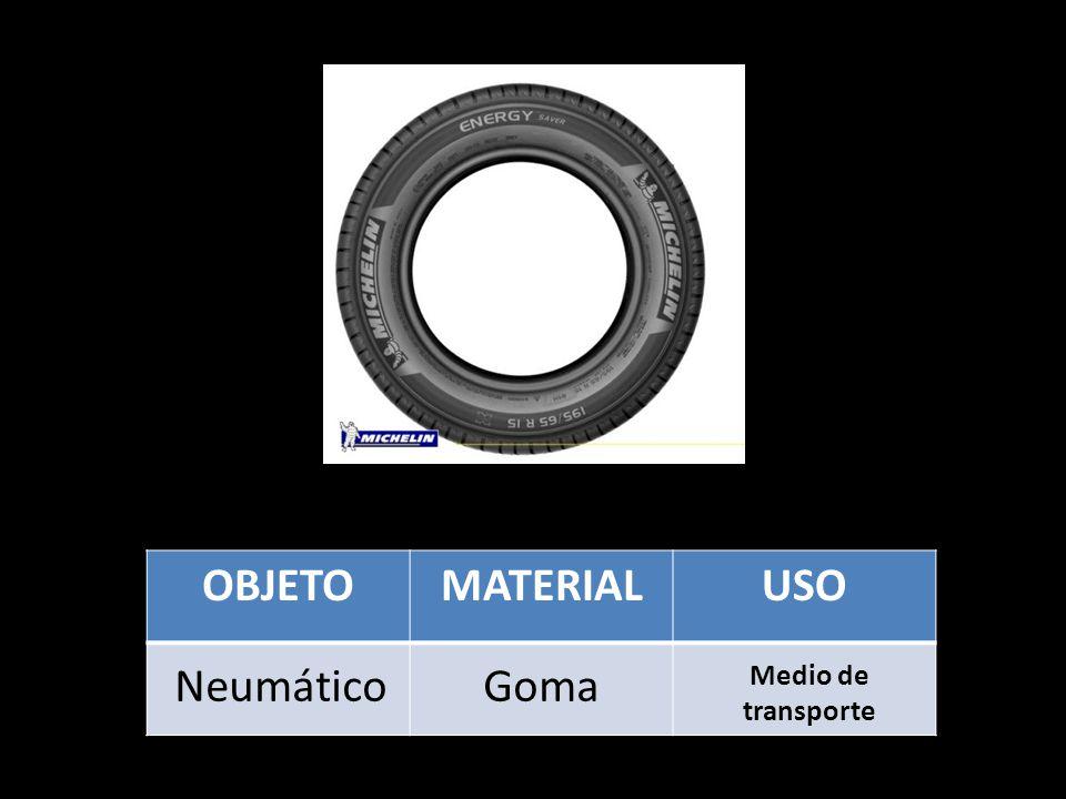 OBJETO MATERIAL USO Neumático Goma Medio de transporte