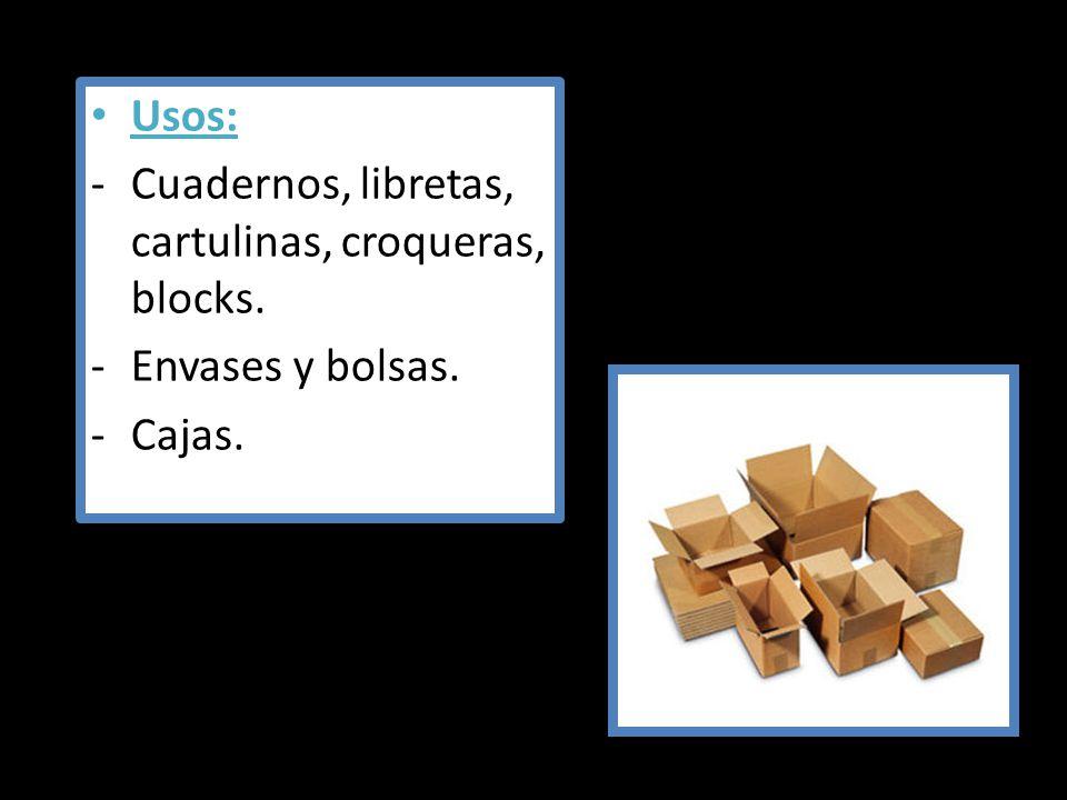 Usos: Cuadernos, libretas, cartulinas, croqueras, blocks. Envases y bolsas. Cajas.