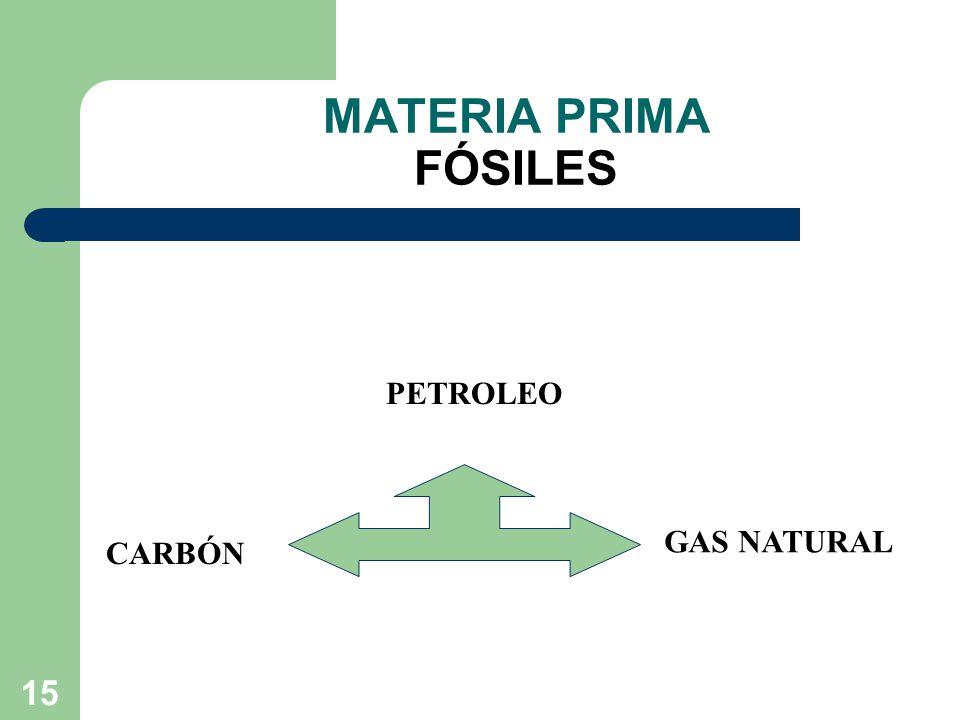 MATERIA PRIMA FÓSILES PETROLEO GAS NATURAL CARBÓN