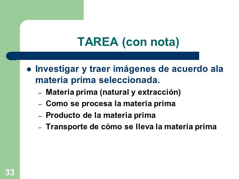TAREA (con nota) Investigar y traer imágenes de acuerdo ala materia prima seleccionada. Materia prima (natural y extracción)