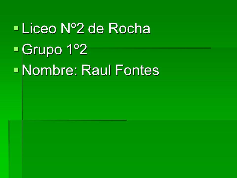 Liceo Nº2 de Rocha Grupo 1º2 Nombre: Raul Fontes