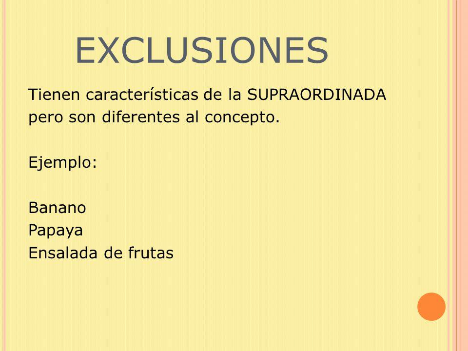 EXCLUSIONES Tienen características de la SUPRAORDINADA pero son diferentes al concepto.