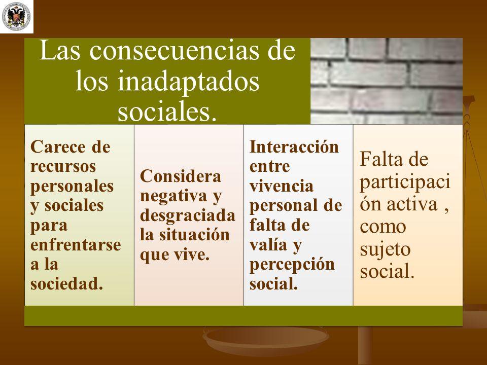 Las consecuencias de los inadaptados sociales.