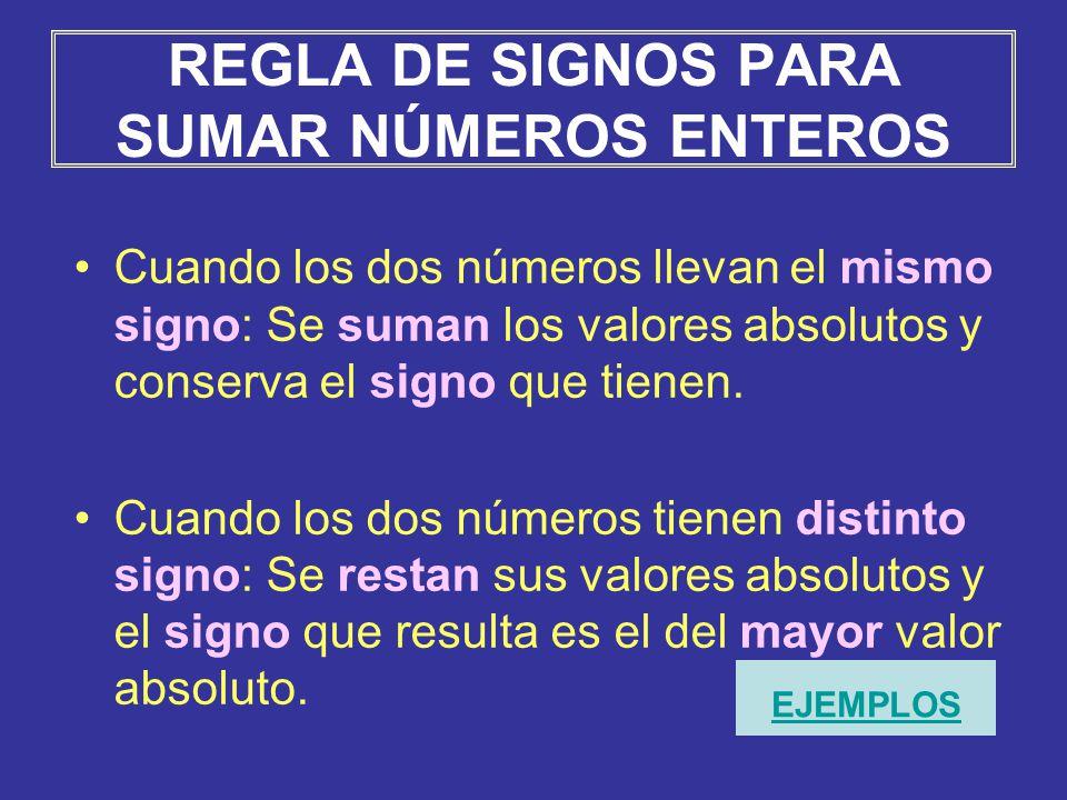 REGLA DE SIGNOS PARA SUMAR NÚMEROS ENTEROS