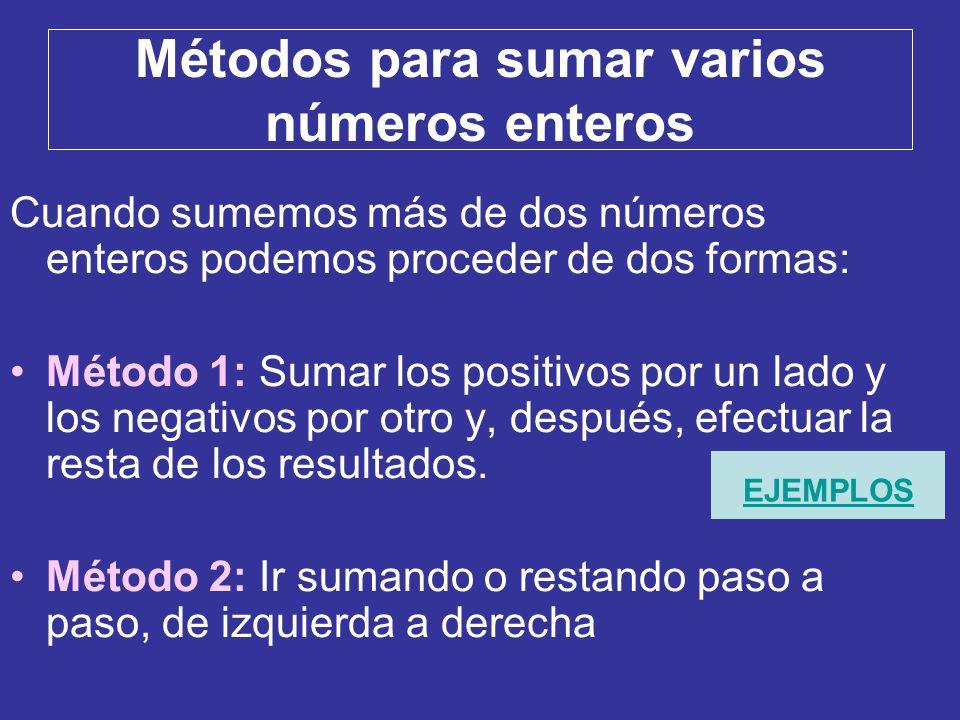 Métodos para sumar varios números enteros