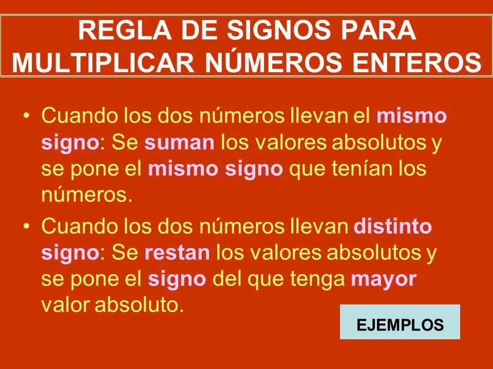 REGLA DE SIGNOS PARA MULTIPLICAR NÚMEROS ENTEROS