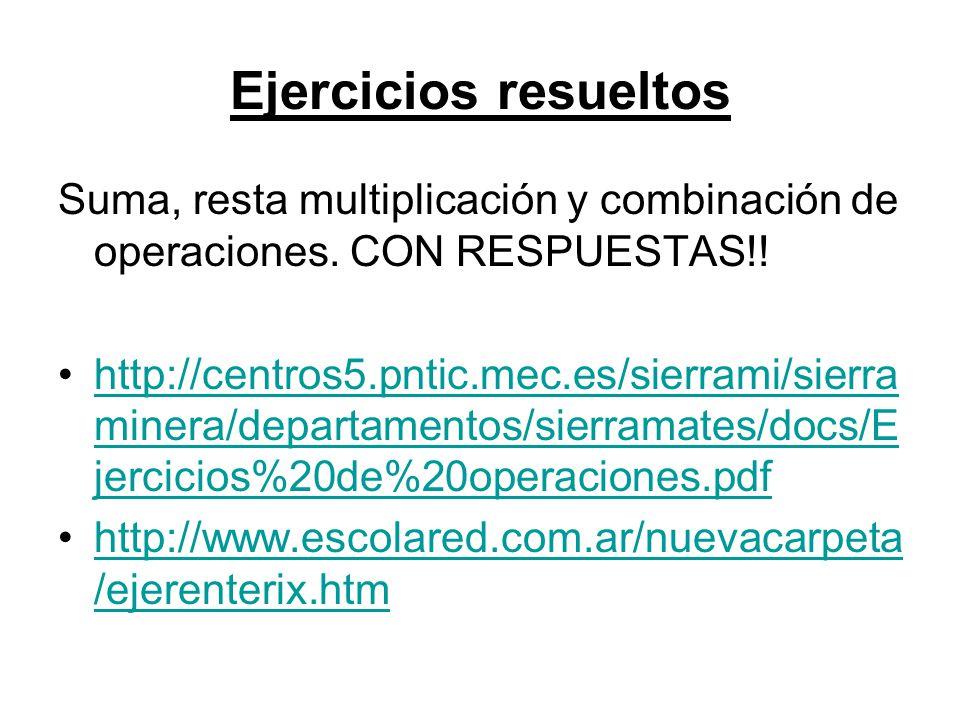 Ejercicios resueltos Suma, resta multiplicación y combinación de operaciones. CON RESPUESTAS!!