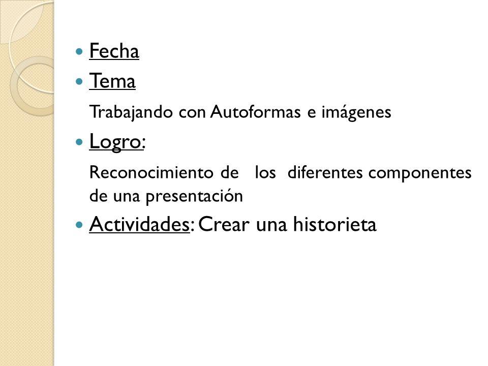 Fecha Tema. Trabajando con Autoformas e imágenes. Logro: Reconocimiento de los diferentes componentes de una presentación.