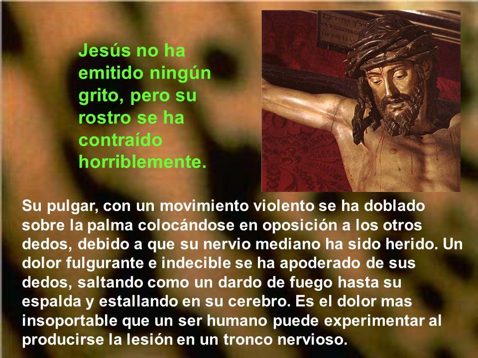 Jesús no ha emitido ningún grito, pero su rostro se ha contraído horriblemente.