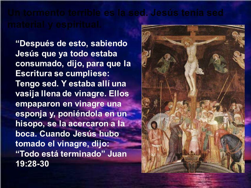 Un tormento terrible es la sed. Jesús tenía sed material y espiritual.