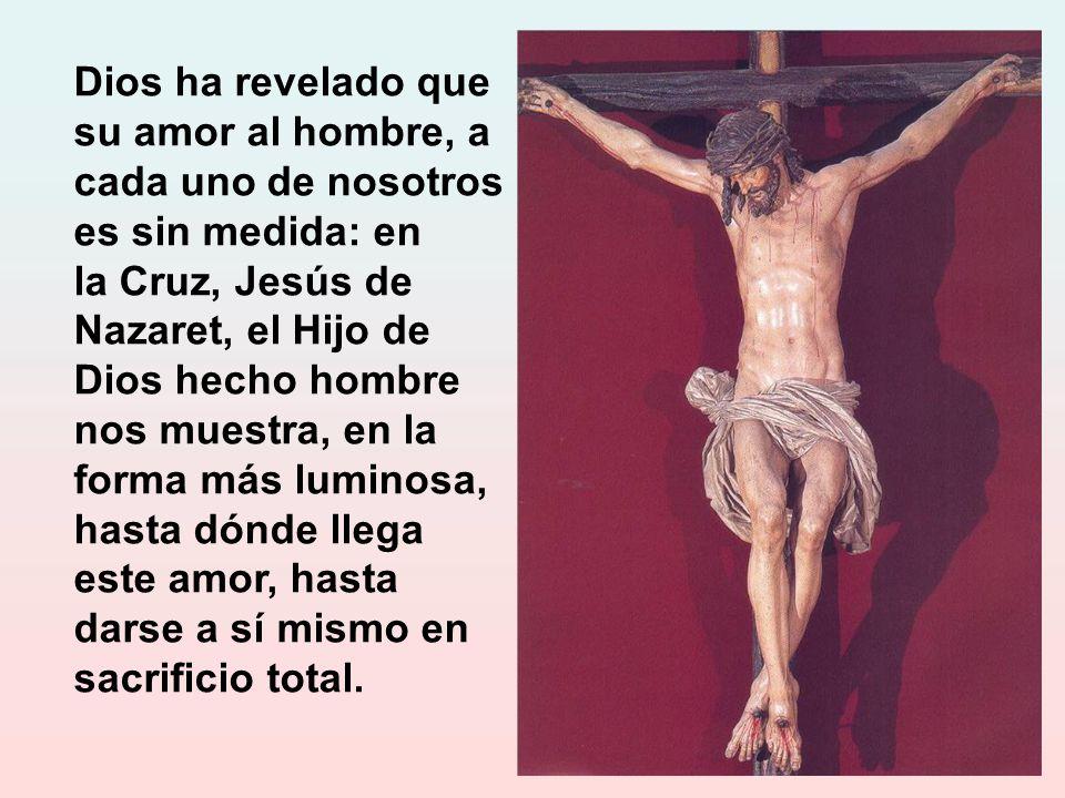 Dios ha revelado que su amor al hombre, a cada uno de nosotros es sin medida: en la Cruz, Jesús de Nazaret, el Hijo de Dios hecho hombre nos muestra, en la forma más luminosa, hasta dónde llega este amor, hasta darse a sí mismo en sacrificio total.