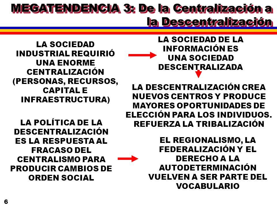 LA SOCIEDAD DE LA INFORMACIÓN ES UNA SOCIEDAD DESCENTRALIZADA