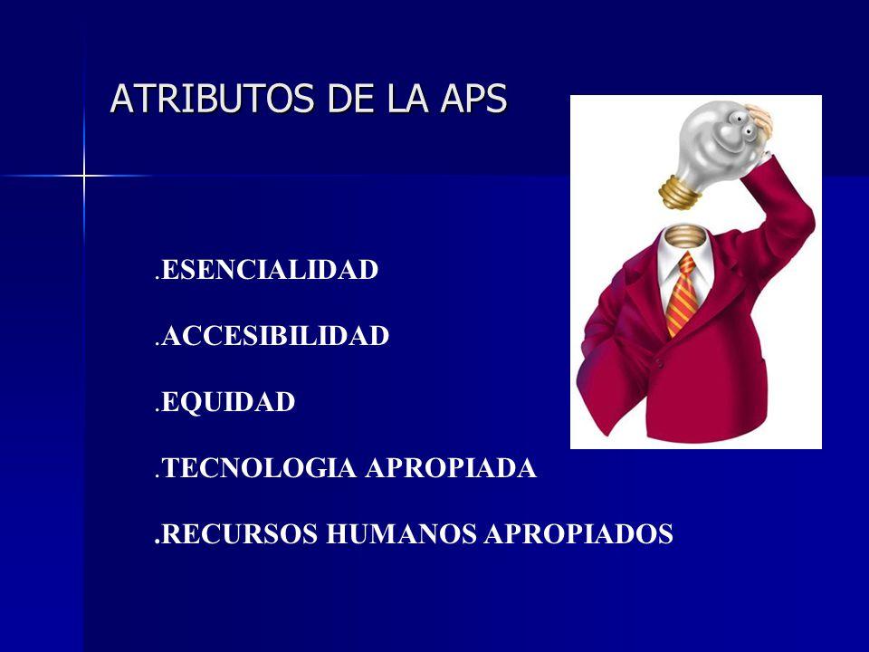ATRIBUTOS DE LA APS .ESENCIALIDAD .ACCESIBILIDAD .EQUIDAD