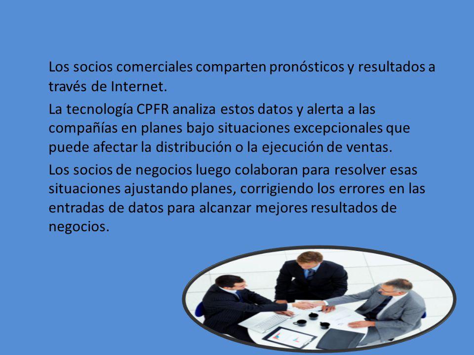 Los socios comerciales comparten pronósticos y resultados a través de Internet.
