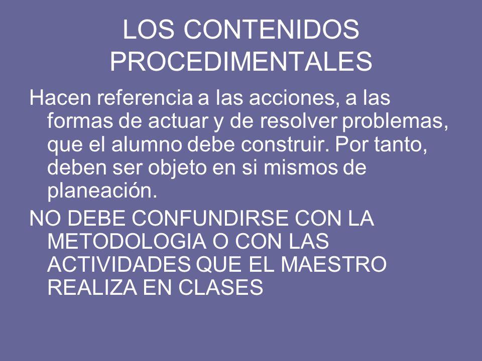 LOS CONTENIDOS PROCEDIMENTALES