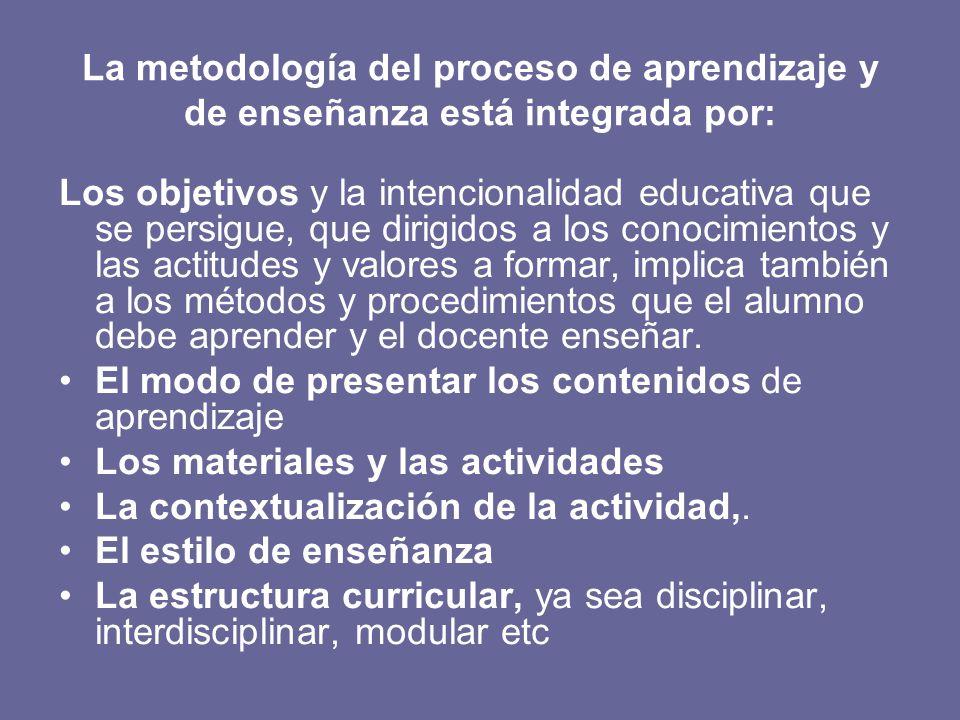 La metodología del proceso de aprendizaje y de enseñanza está integrada por: