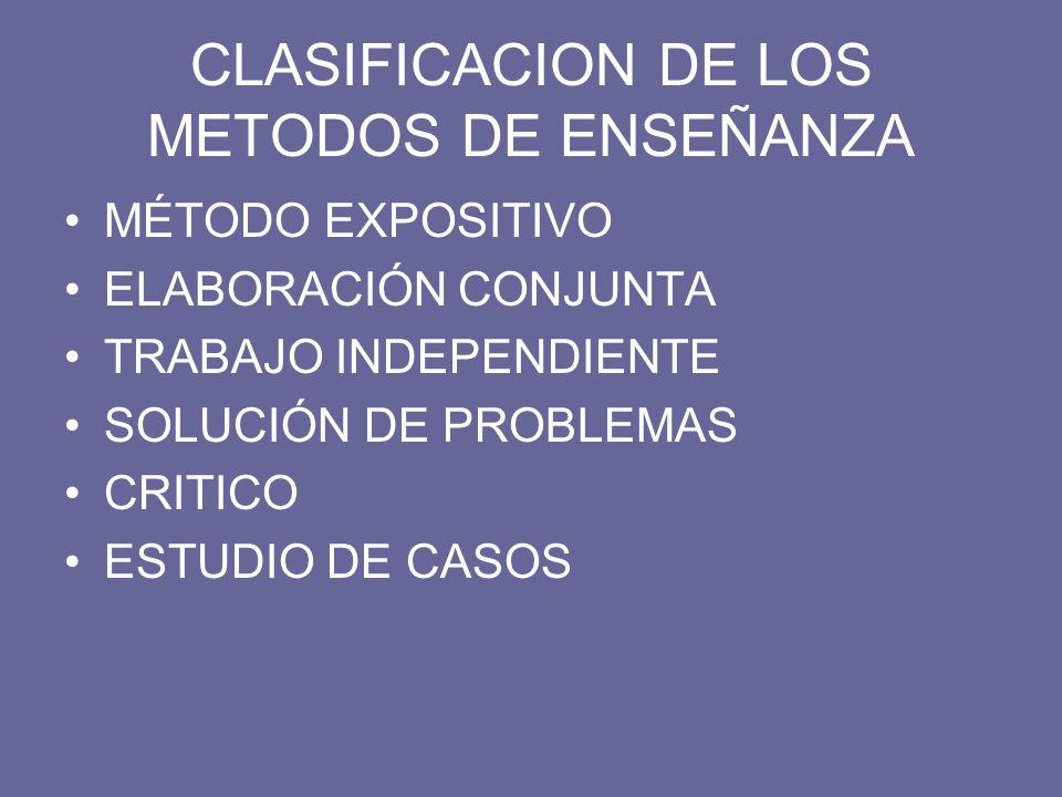 CLASIFICACION DE LOS METODOS DE ENSEÑANZA