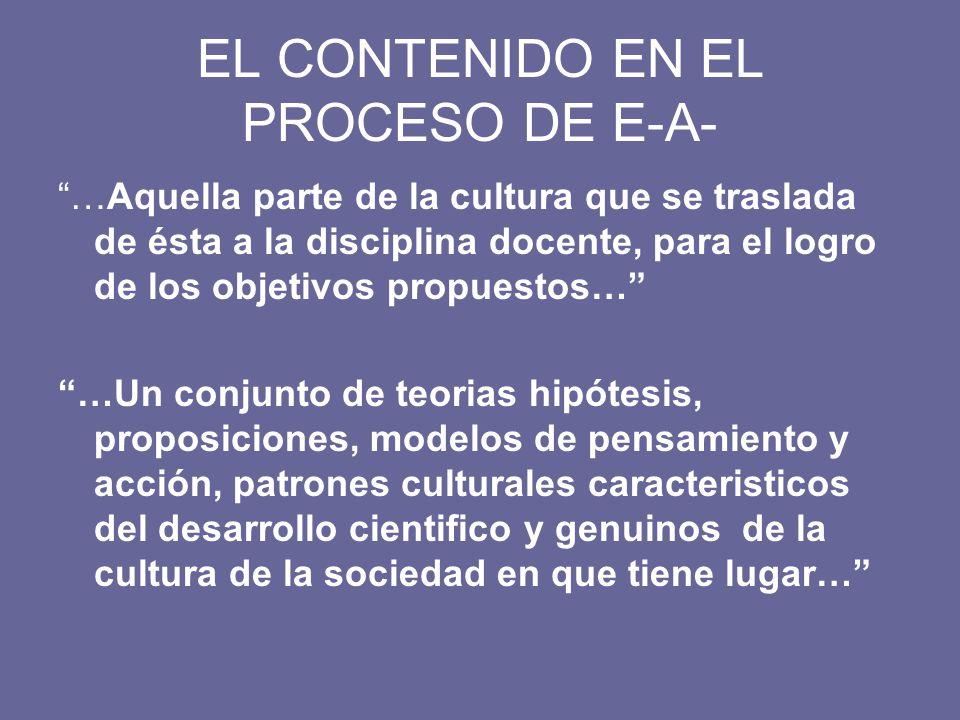 EL CONTENIDO EN EL PROCESO DE E-A-
