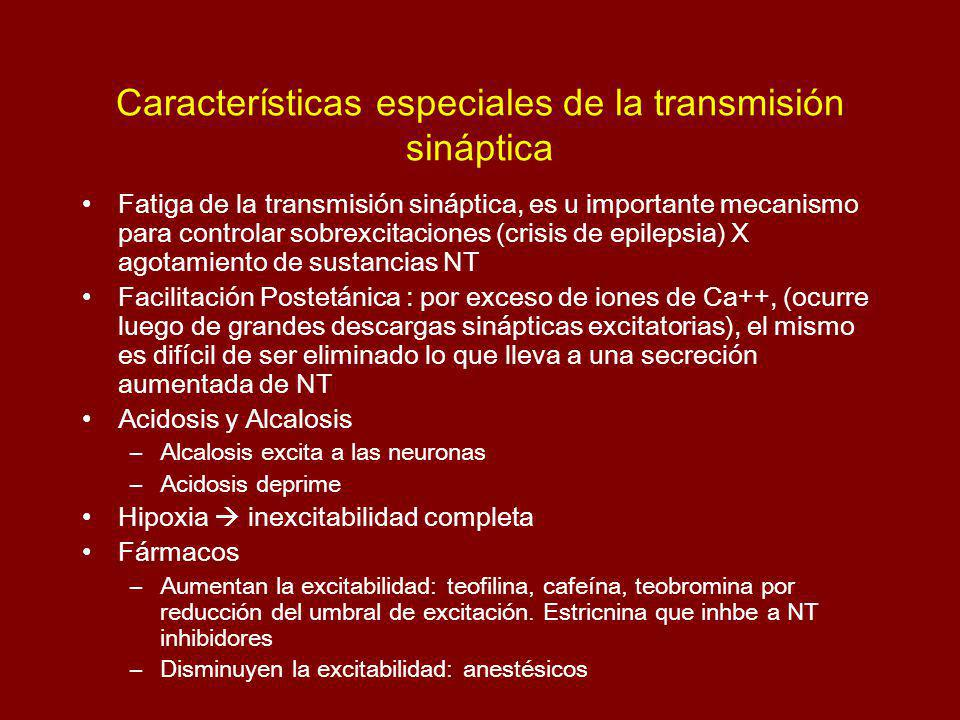 Características especiales de la transmisión sináptica
