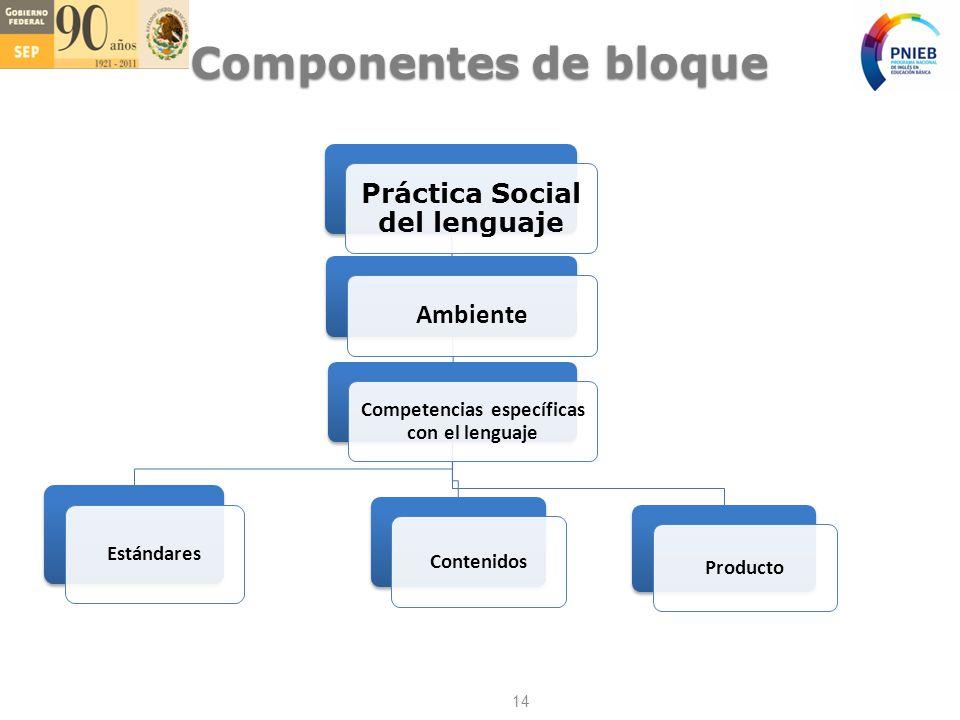 Práctica Social del lenguaje Competencias específicas con el lenguaje