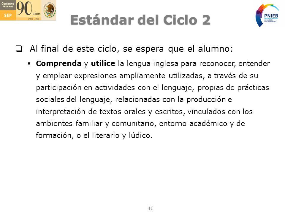 Estándar del Ciclo 2 Al final de este ciclo, se espera que el alumno: