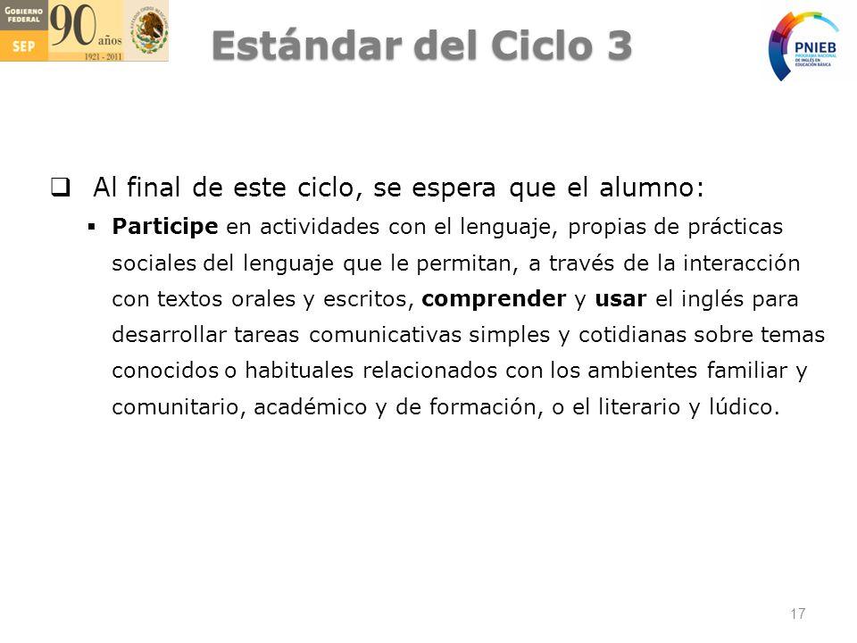 Estándar del Ciclo 3 Al final de este ciclo, se espera que el alumno: