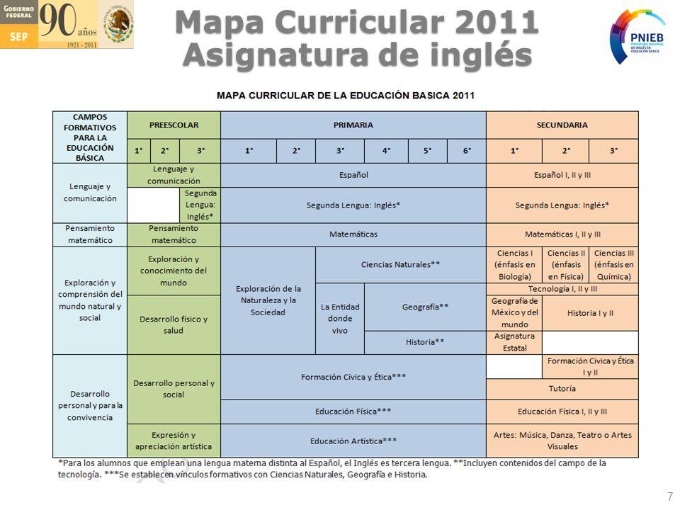 Mapa Curricular 2011 Asignatura de inglés