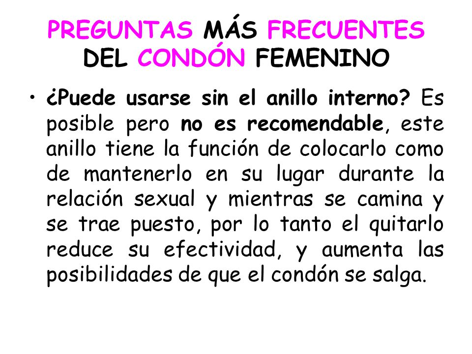 PREGUNTAS MÁS FRECUENTES DEL CONDÓN FEMENINO
