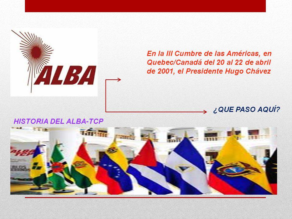 En la III Cumbre de las Américas, en Quebec/Canadá del 20 al 22 de abril de 2001, el Presidente Hugo Chávez