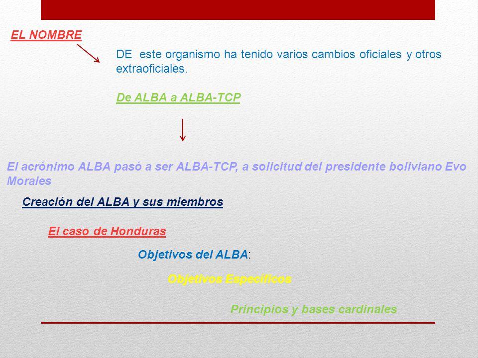 EL NOMBRE DE este organismo ha tenido varios cambios oficiales y otros extraoficiales. De ALBA a ALBA-TCP.
