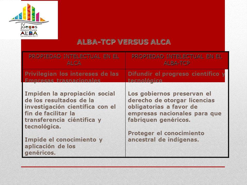 ALBA-TCP VERSUS ALCA PROPIEDAD INTELECTUAL EN EL ALCA