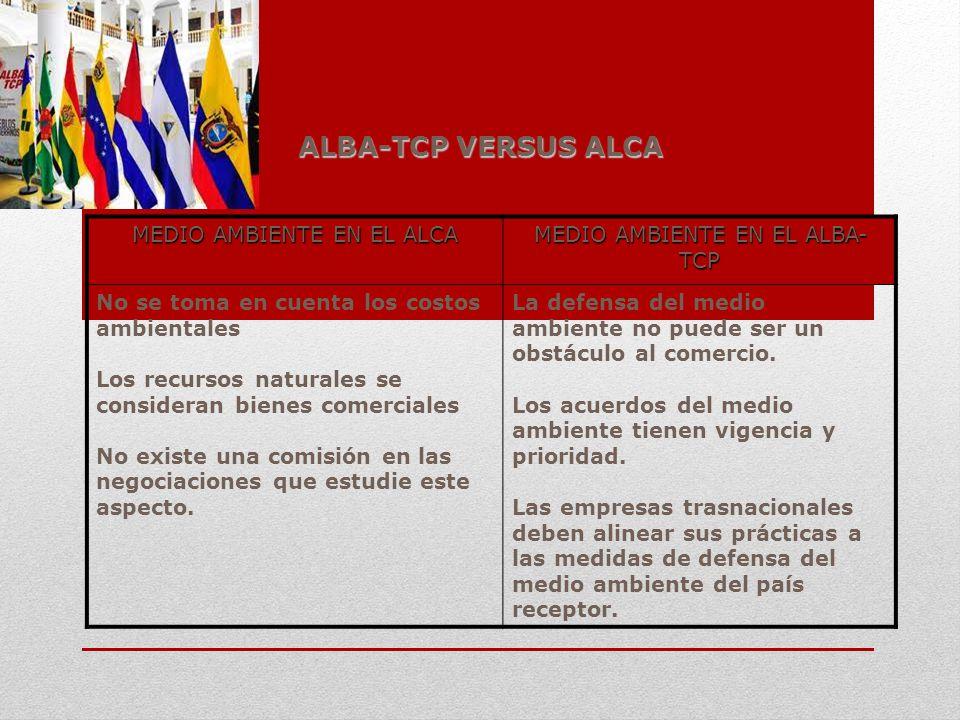 ALBA-TCP VERSUS ALCA MEDIO AMBIENTE EN EL ALCA