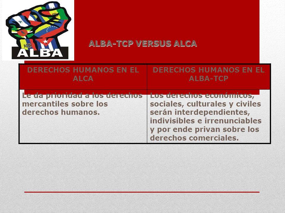 DERECHOS HUMANOS EN EL ALCA DERECHOS HUMANOS EN EL ALBA-TCP