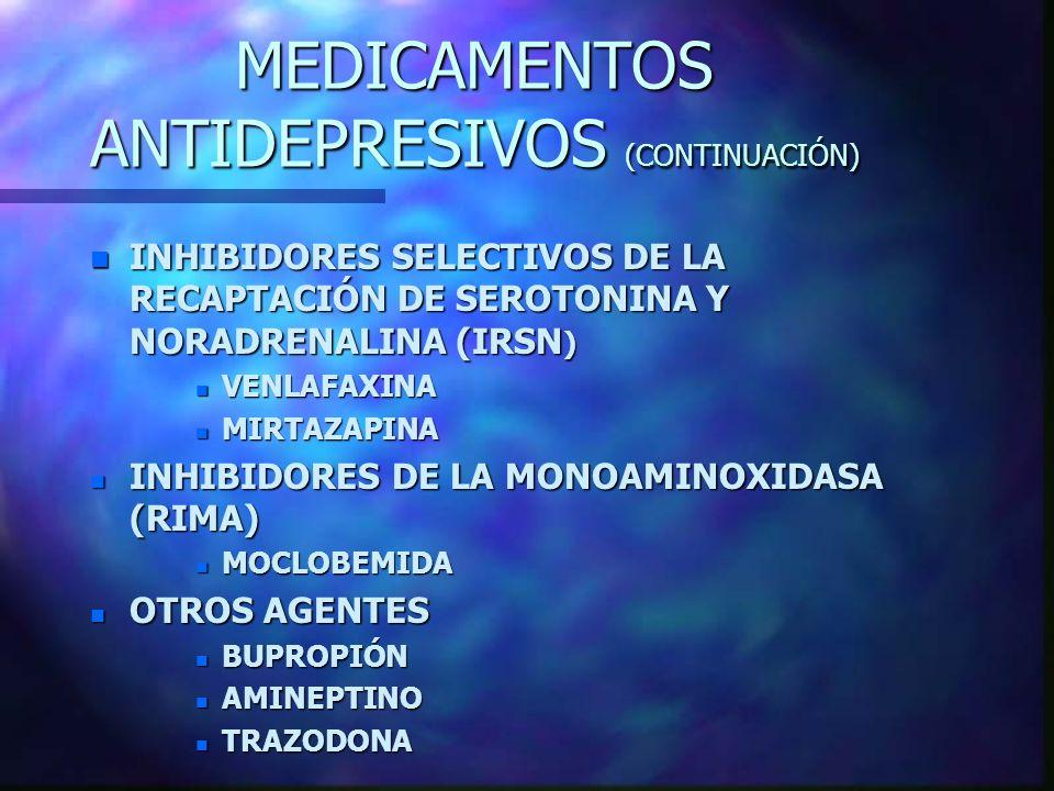 MEDICAMENTOS ANTIDEPRESIVOS (CONTINUACIÓN)