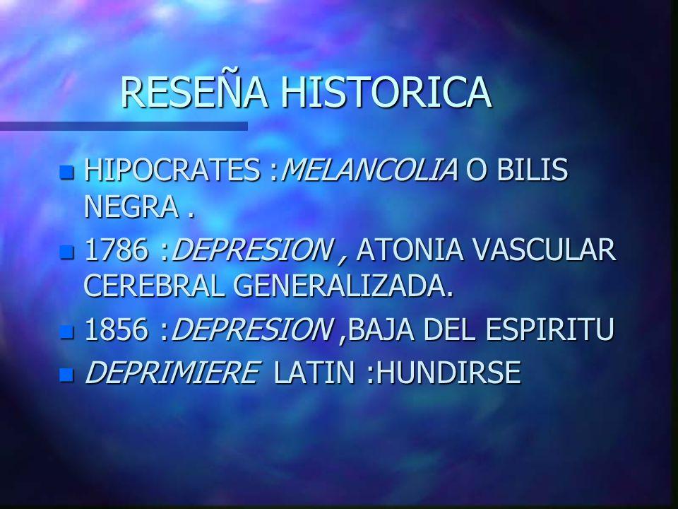 RESEÑA HISTORICA HIPOCRATES :MELANCOLIA O BILIS NEGRA .