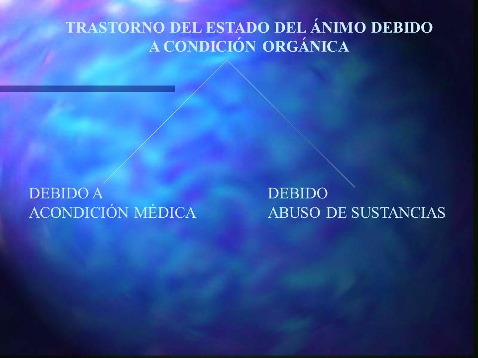 TRASTORNO DEL ESTADO DEL ÁNIMO DEBIDO A CONDICIÓN ORGÁNICA