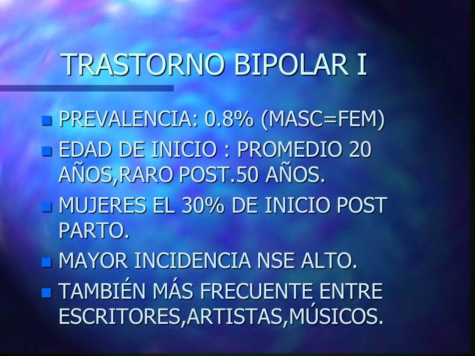 TRASTORNO BIPOLAR I PREVALENCIA: 0.8% (MASC=FEM)