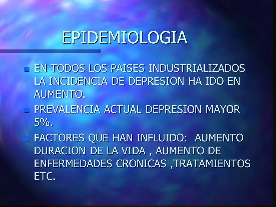 EPIDEMIOLOGIA EN TODOS LOS PAISES INDUSTRIALIZADOS LA INCIDENCIA DE DEPRESION HA IDO EN AUMENTO. PREVALENCIA ACTUAL DEPRESION MAYOR 5%.
