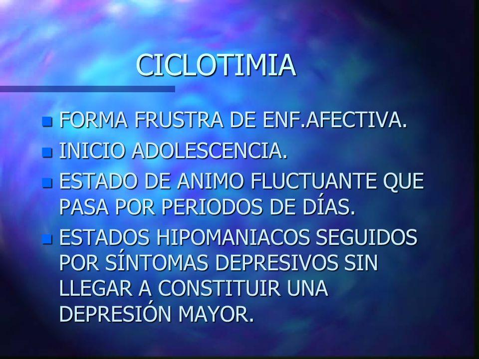 CICLOTIMIA FORMA FRUSTRA DE ENF.AFECTIVA. INICIO ADOLESCENCIA.