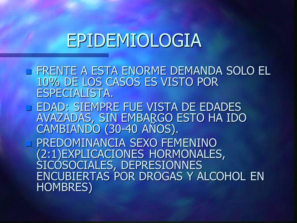 EPIDEMIOLOGIA FRENTE A ESTA ENORME DEMANDA SOLO EL 10% DE LOS CASOS ES VISTO POR ESPECIALISTA.
