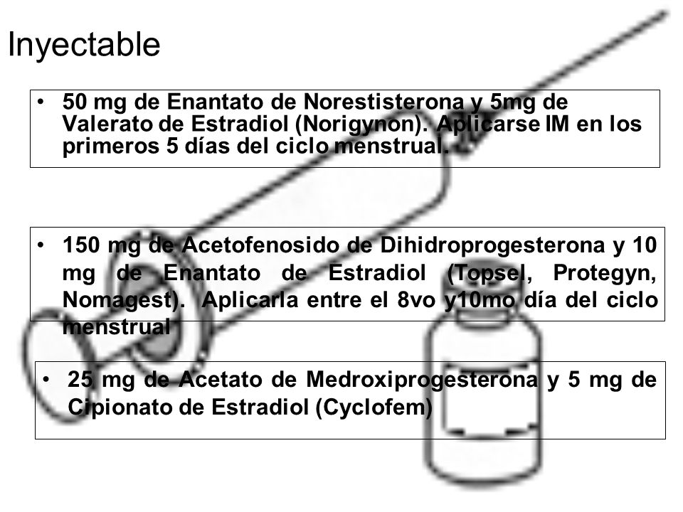 Inyectable 50 mg de Enantato de Norestisterona y 5mg de Valerato de Estradiol (Norigynon). Aplicarse IM en los primeros 5 días del ciclo menstrual.