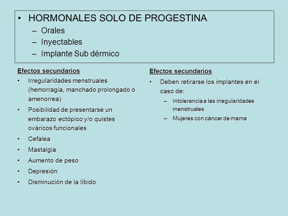 HORMONALES SOLO DE PROGESTINA