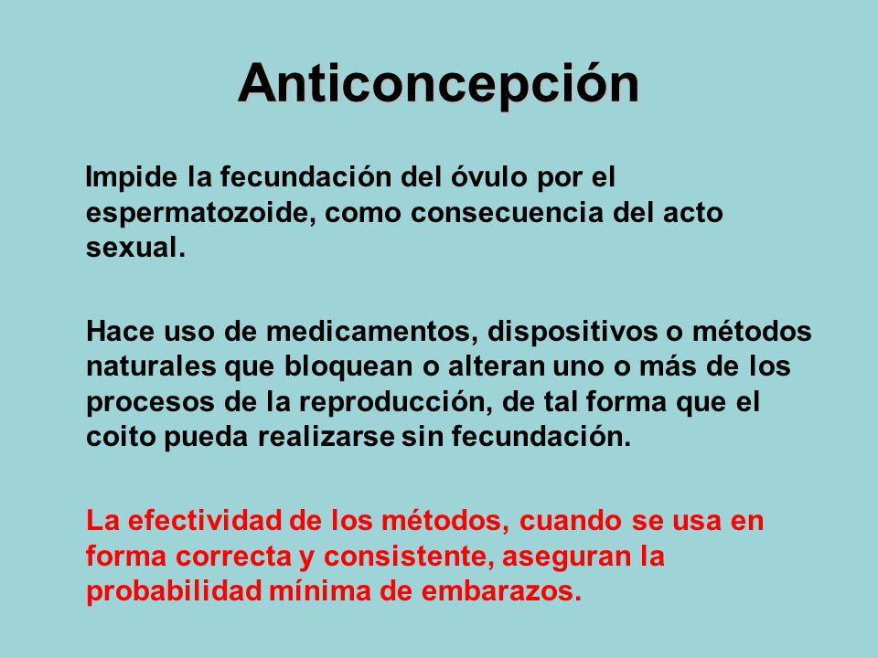 Anticoncepción Impide la fecundación del óvulo por el espermatozoide, como consecuencia del acto sexual.