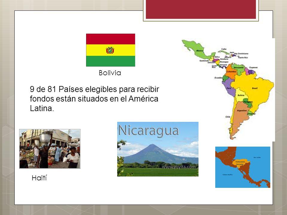 Bolivia 9 de 81 Países elegibles para recibir fondos están situados en el América Latina. Haití