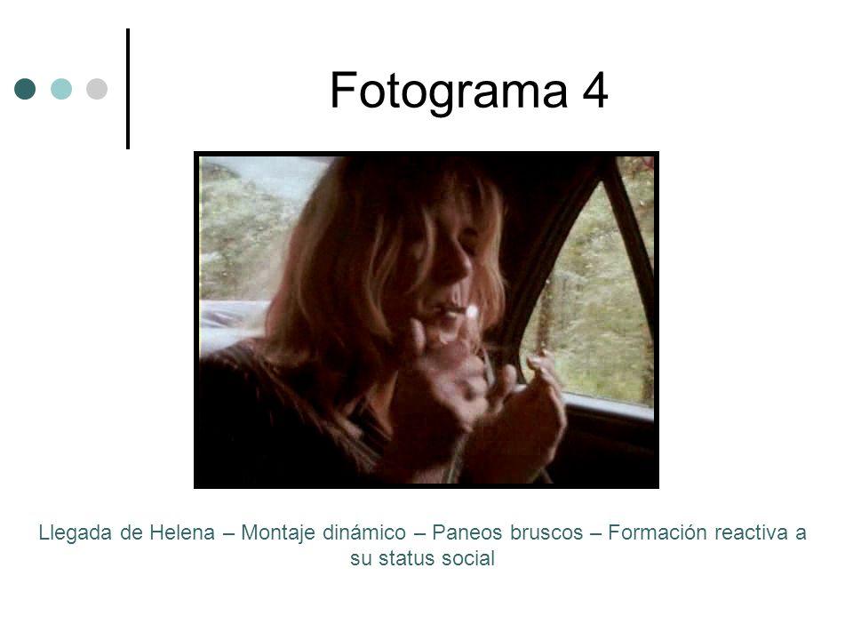 Fotograma 4 Llegada de Helena – Montaje dinámico – Paneos bruscos – Formación reactiva a su status social.